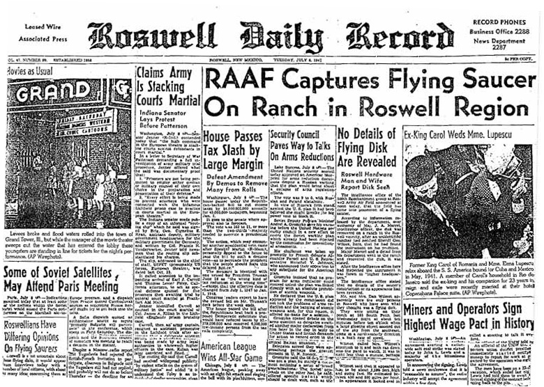 Titulní strana Roswell Daily Record.