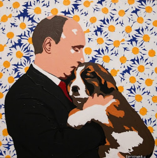 Putin-and-his-dog-painting-by-Russian-artist-Alexei-Sergiyenko-7