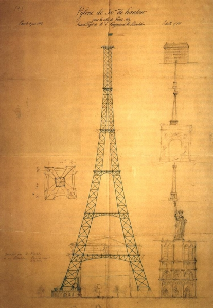 02Blueprint-of-the-Eiffel-Tower-by-one-of-its-main-engineers-Maurice-Koechlin-ca.-1884