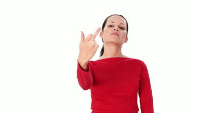 stock-footage-young-woman-showing-middle-finger-up-over-white-background