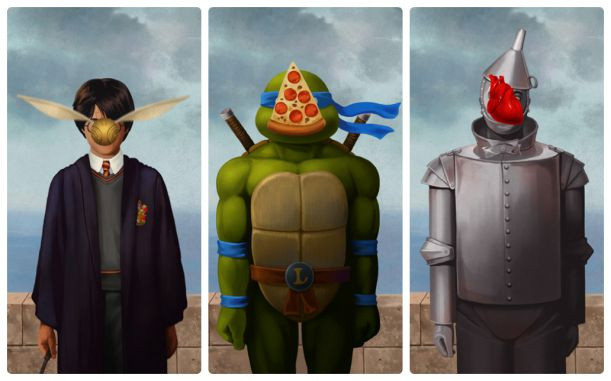Magritte + Harry Potter, TMNT, Tin Man