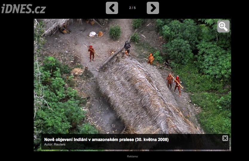 """iDnes, květen 2008 – na fotce jsou brazilští """"červení"""" indiáni"""