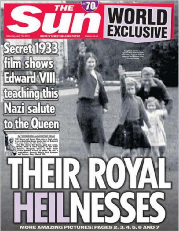 Obálka včerejšího vydání deníku The Sun