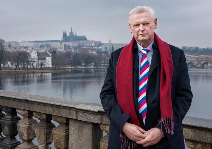Český vlastenec kandidující na prezidenta v kravatě s ruskou trikolorou. A to je na tom všem ještě to nejnormálnější.