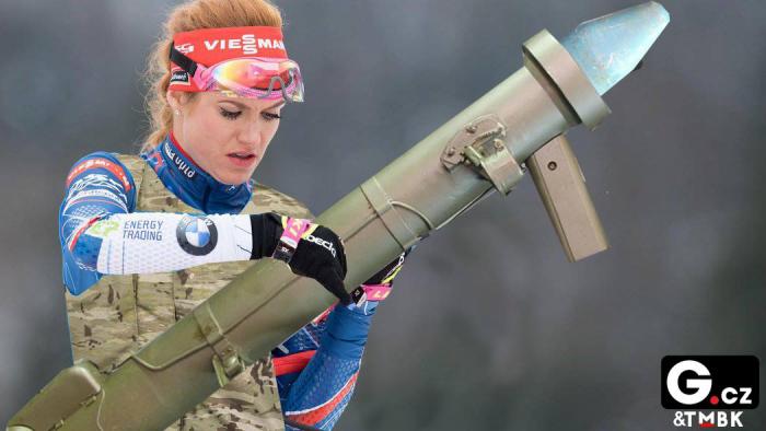 Gabriela koukalová si u své Panzerfaust stěžuje hlavně na pomalé přebíjení na střelnici