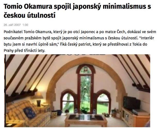 Podle Okamury musí interiér domu vystihovat jeho majitele.