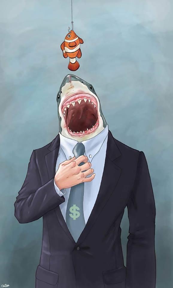 Žralok nenápadně pochytá všechny malé rybky, a pak si vás koupí všechny.