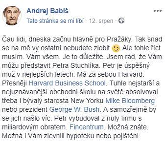 Babišův status.