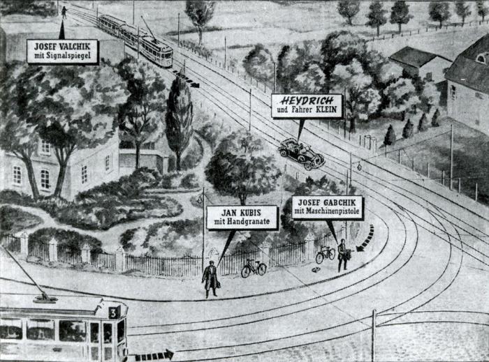 Dobový nákres zachycující průběh atentátu.