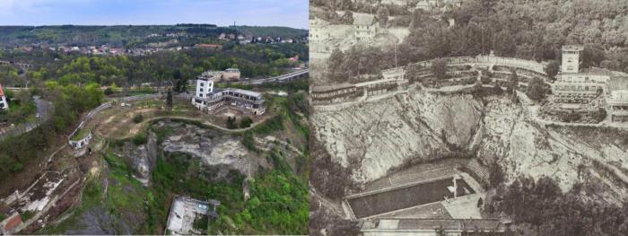 Letecký pohled na celé Barrandovské terasy dnes a dříve