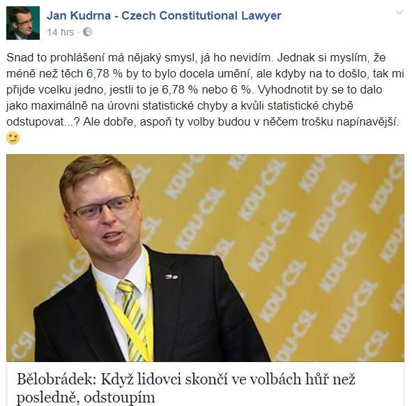 Ústavní právník Jan Kudrna Bělobrádkovo počínání píliš nechápe. Není divu.