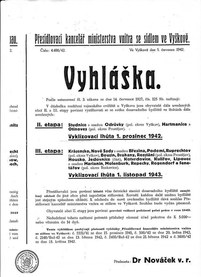 Jedna z mnoha vyhlášek, kterými bylo realizováno vysidlování Čechů na území Protektorátu.