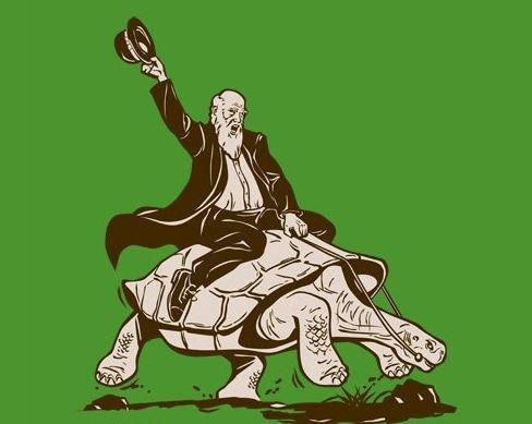 Ilustrace toho, co se doopravdy stalo. Poté, co Darwin na želvě, která zažila 18. století, jezdil, ji zabil a snědl. Sympaťák.