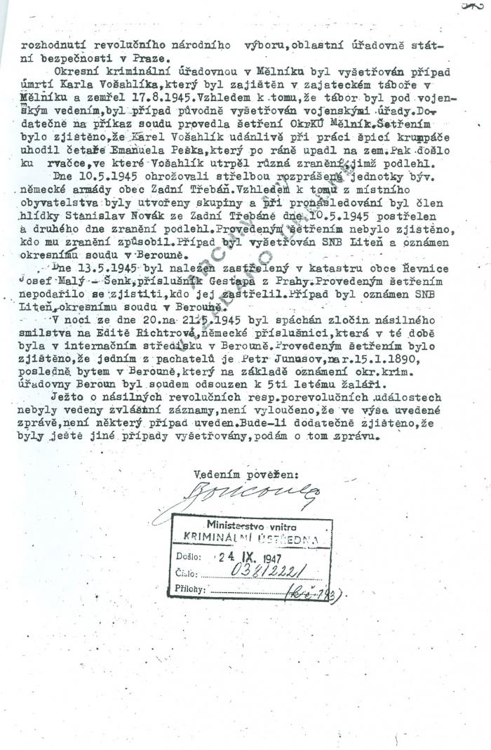 Poslední strana protokolu s bohužel nečitelným podpisem zpracovatele a razítkem podatelny Kriminální ústředny ministerstva vnitra s uvedením data 24.9.1947, kdy byl dokument doručen.