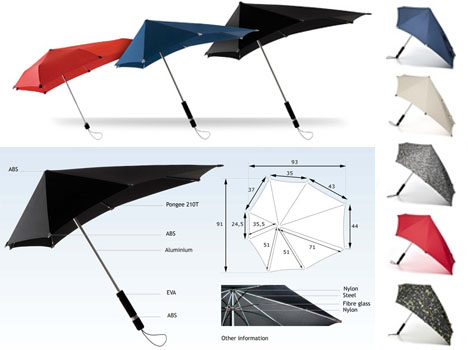 Díky své unikátní konstrukci ho nerozhází žádný vichr. Nikdy se vám nestane, že by se překlopil na druhou stranu, což bývá u deštníků s lehkou konstrukcí při výraznějším zafoukání celkem častý jev. Navíc vypadá stylově!