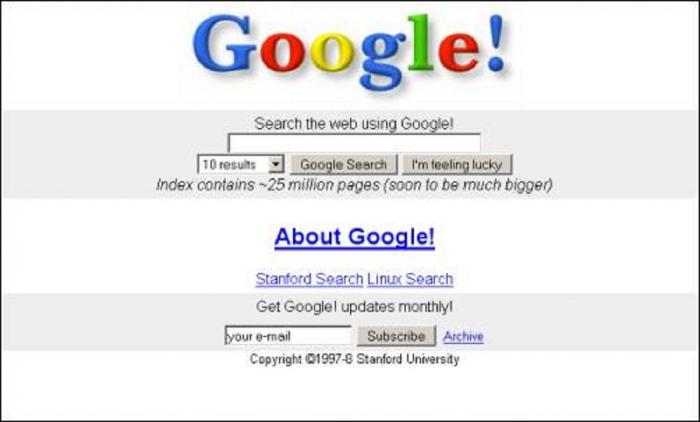 Takto vypadala první verze Googlu. Vzhled se dodnes příliš nezměnil, funkce a hodnota společnosti ale urazily dlouhou cestu.