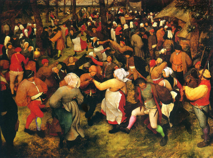 Pieter Bruegel starší: Svatební tanec v přírodě (1566). Pokud ten obraz znáte blíže, asi zjistíte, že jsme si s kamašemi veselících se lidí trochu účelově pohráli :)