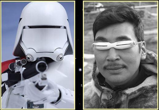 Helmy nových stormtrooperů inspirovali tradiční inuitské brýle proti sněhu.