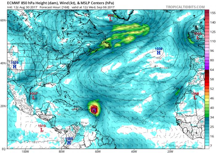 Počítačový model hurikánu Irma z oběžné dráhy