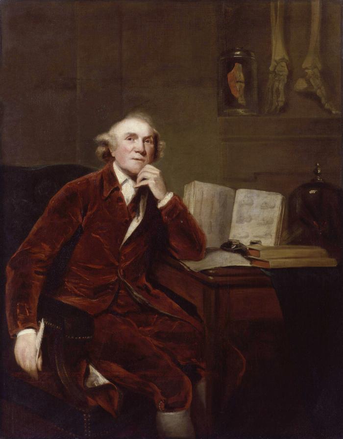 John Hunter zvěčněný na malbě Johna Jacksona z roku 1813. Tedy dvacet let po své smrti. Jedná se ve skutečnosti o kopii podle staršího portrétu od Joshui Reynoldse z roku 1786, tedy sedm let před Hunterovým skonem (na infarkt!)