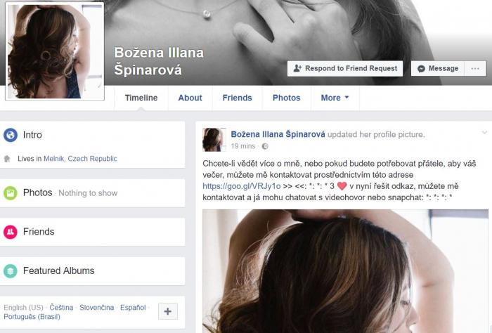 Božena Illana Špinarová. Typicky české jméno, do toho asi utajovaná dcera nedávno zesnulé zpěvačky. Naštěstí fake profily poznáte poměrně snadno.