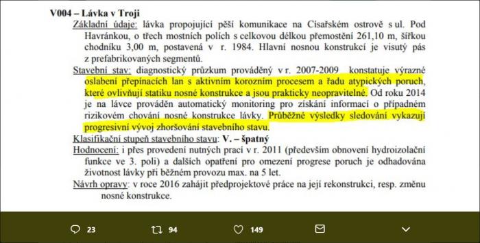 Úryvek zprávy z kontroly Trojské lávky z jara 2016, který na Twitteru zveřejnil novinář Filip Rožánek.