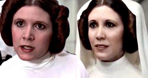Počítačová grafika už jednou Leiu oživila, respektive umožnila nám znovu se podívat na její mladou tvář. Vlevo původní Carrie Fischer, vpravo počítačová.