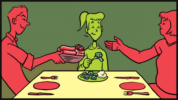 Vegetarián pozér je sám se sebou spokojený a cítí se být lepší než ostatní