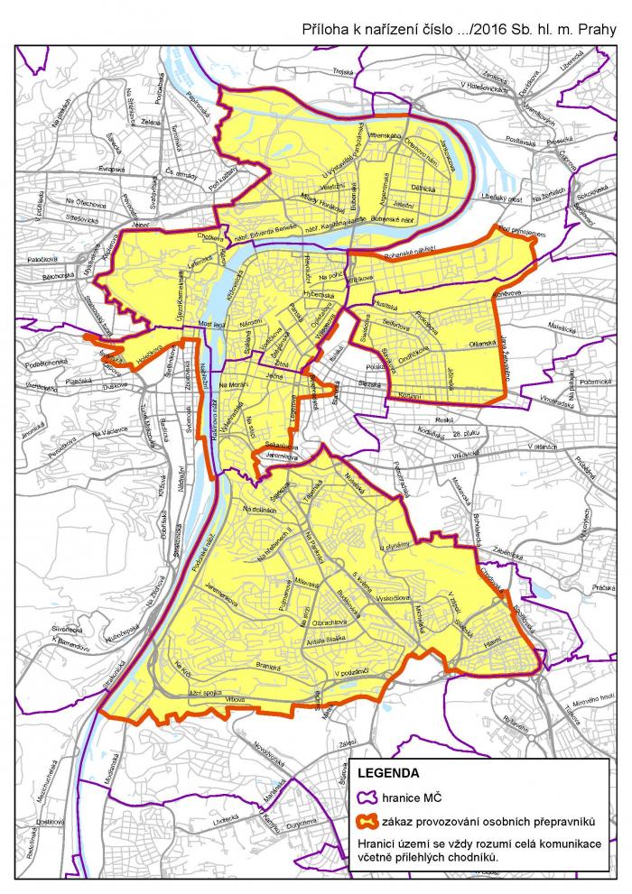 Segwaye jsou zakázané ve žlutě vyznačené oblasti