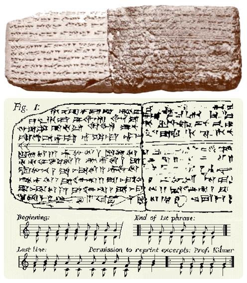 Jedna z nalezených tabulek a z ní pořízený 'moderní' notový zápis.