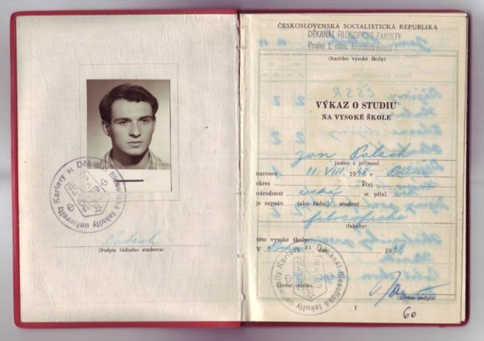 Index Jana Palacha jako studenta Filosofické fakulty. Tam mu komunisté pro špatný původ neumožnili studovat napoprvé, když po maturitě podal přihlášku.