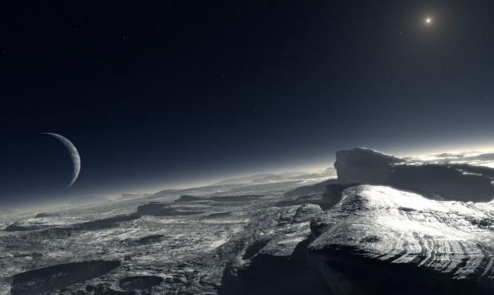 Jak by to asi mohlo vypadat na povrchu Pluta? Třeba nějak takhle. Velký dorůstající měsíc je Charon, malá tečka na obloze Slunce.