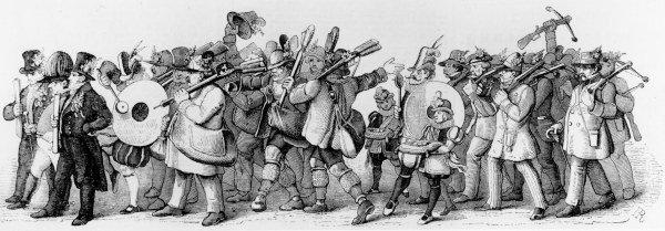 Dobový dřevoryt znázorňující 'Oktoberfestový' průvod 18. října 1845