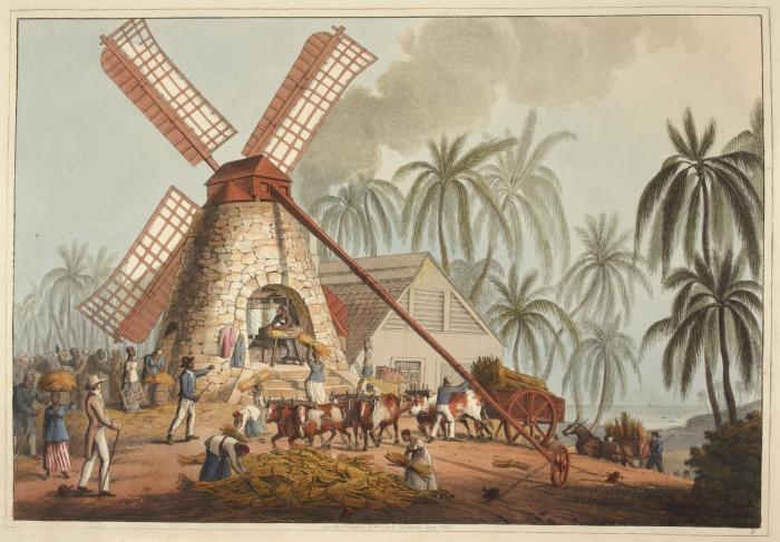 Větrný mlýn na zpracování třtiny