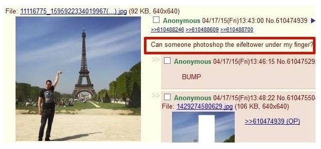 Může mi někdo naphotoshopovat Eiffelovku pod prst?