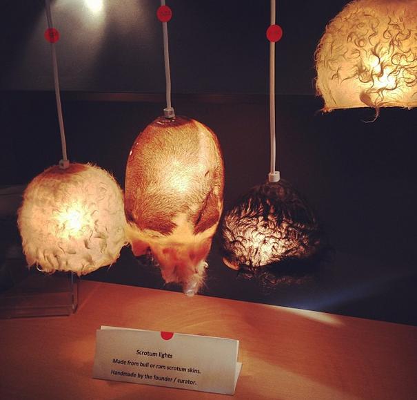 """V muzeu můžete obdivovat a případně i zakoupit například tyhle překrásné, stylové a bezpochyby originální """"šourkové lampy"""" vyrobené z býčích či beraních 'pytlíků'"""