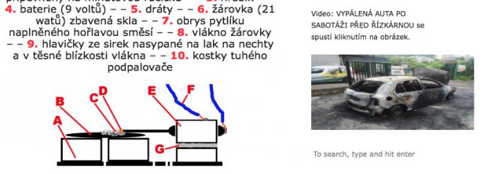 Část návodu na zapalování aut Řízkárny (vpravo)