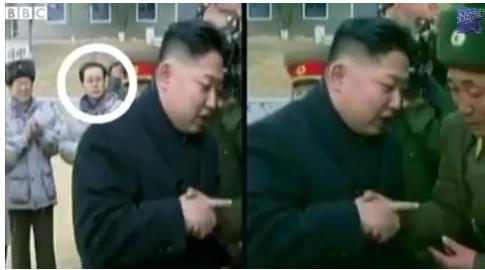 Nepohodlný severokorejský politik Jang-Song Thaek, vyretušovaný z fotky diktátora Kim Čong-una