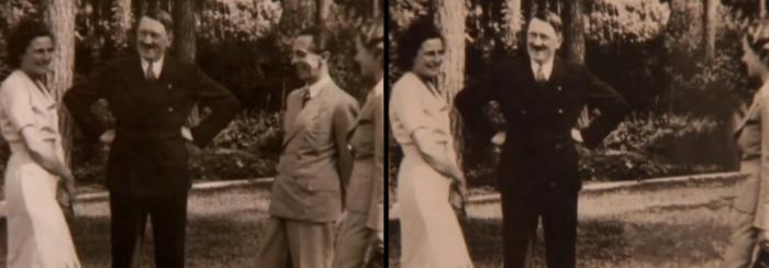 Nepohodlný nacista Josef Goebbels, vyretušovaný z fotky s Hitlerem (přesný důvod jeho nepohodlnosti není znám)
