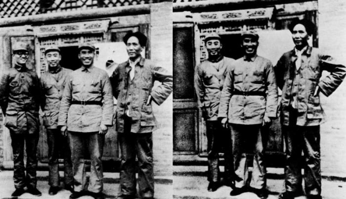 Nepohodný čínský komunista Bu Go, vyretušovaný z fotky s Mao Ce-tungem