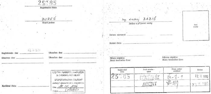 Verdikt o tom, že Babiš byl jako agent Bureš evidován u StB neoprávněně, byl ústavním soudem zrušen.