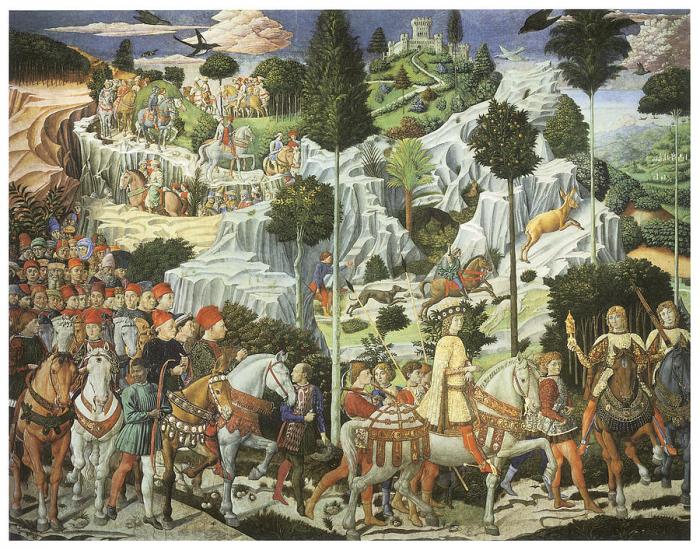Benozzo Gozzoli: Cesta tří králů do Betléma (1459)