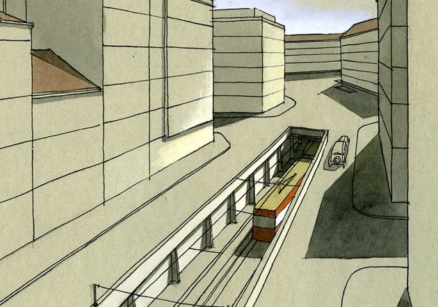 Původně se mělo jednat o klasické tramvaje, které by na některých úsecích zajížděly do podzemních tunelů. Tak to fungovalo kupříkladu ve Vídni, než tam následně podpovrchové tramvajové linky konvertovaly na klasické metro.