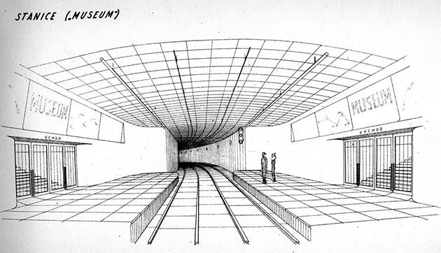 Stanice Museum – návrh z počátku 40. let 20. století