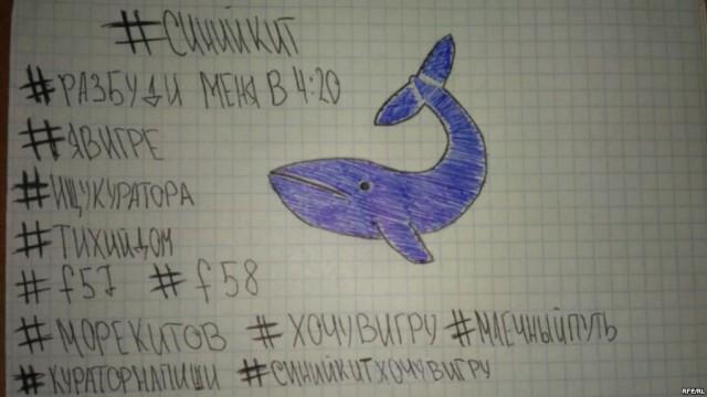 Ruské hashtagy, které používají 'hráči' Modré velryby. Téma sebevražd bylo u utrápených teenagerů vždy populární.