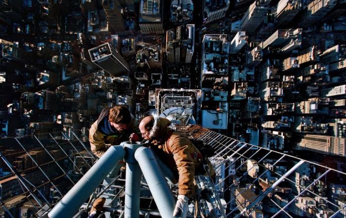Empire State Building. Výška téměř 400 metrů. Nenáročná oprava antény.