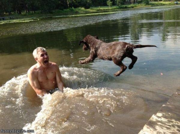 Myslíte si, že když jí naložíte ve vodě, budete v bezpečí? Její pes si vás najde všude