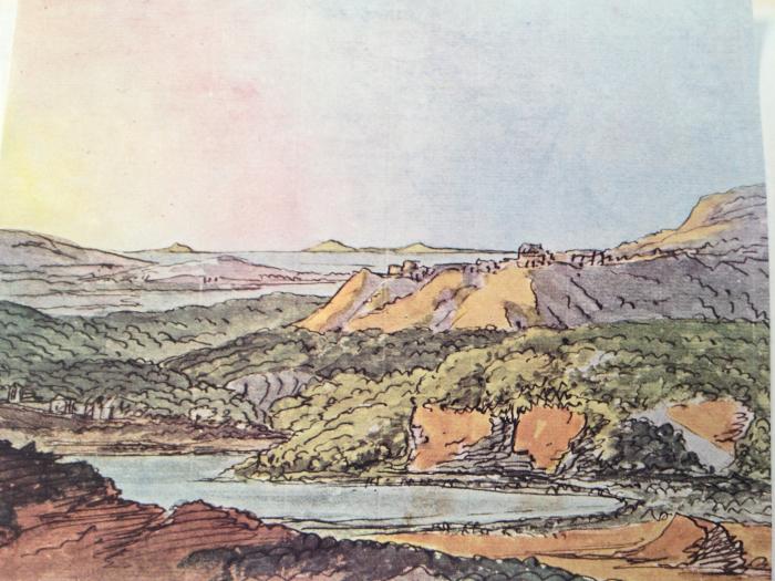 J. W. Goethe: Jižní krajina na mořském pobřeží se zalesněnými kopci a vodní plochou
