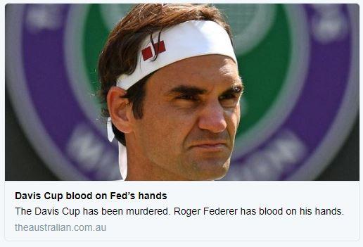 Negativní ohlasy jsou nejenem z České republiky. Například uustralská médie přičítají vinu za zabití Davis Cupu Rogeru Federerovi.