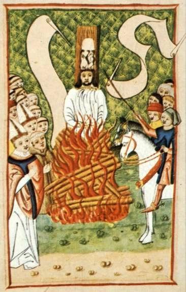 Jan Hus na hranici.